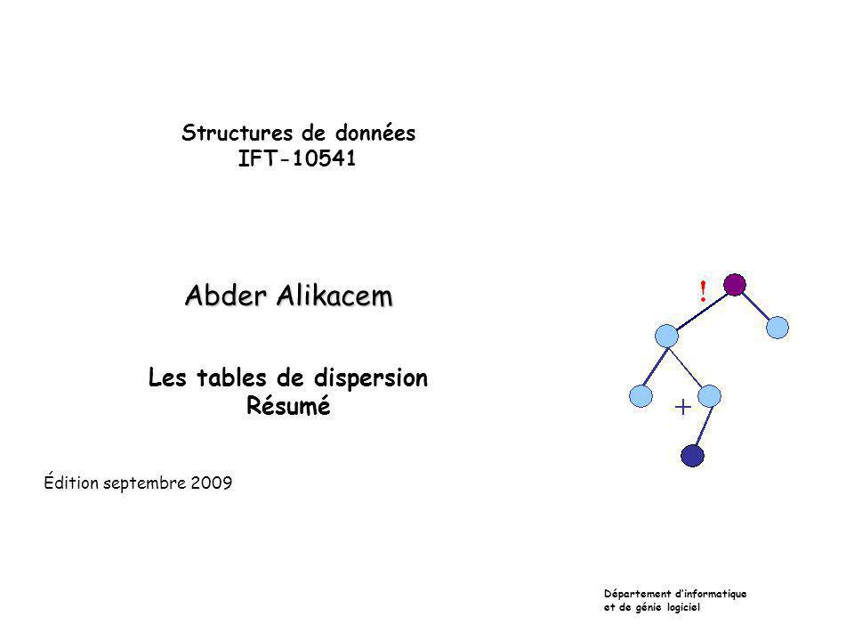 Structures de données IFT-10541 Abder Alikacem Les tables de dispersion Résumé Département dinformatique et de génie logiciel Édition septembre 2009