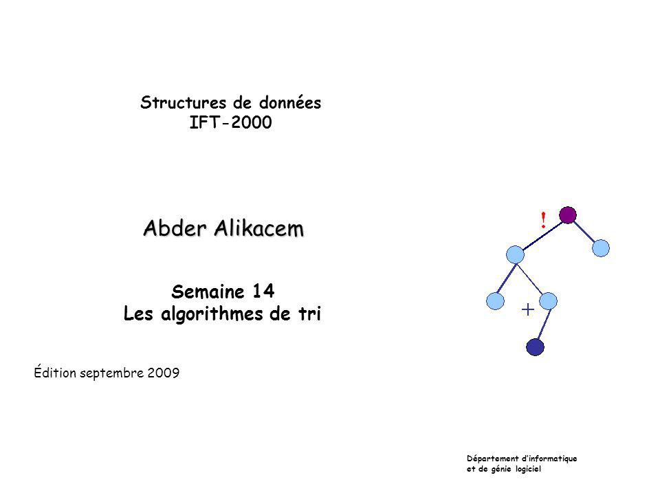 Plan Définitions et propriétés Les algorithmes de tri simples et leur complexité Les algorithmes de tri complexes et leur complexité Le tri rapide (QuickSort) Le tri-fusion (MergeSort) Le tri par arbre (TreeSort) Le tri par monceau (HeapSort)