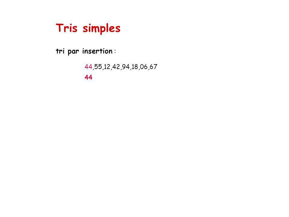 Tris simples tri par insertion : 44,55,12,42,94,18,06,67 44