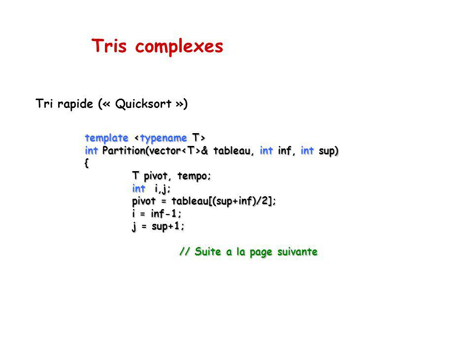 Tris complexes Tri rapide (« Quicksort ») template template int Partition(vector & tableau, int inf, int sup) { T pivot, tempo; int i,j; pivot = table