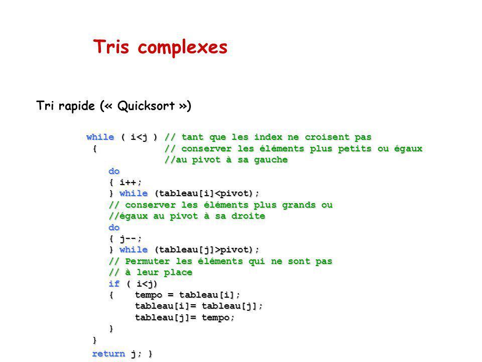 Tris complexes Tri rapide (« Quicksort ») while ( i<j ) // tant que les index ne croisent pas { // conserver les éléments plus petits ou égaux { // conserver les éléments plus petits ou égaux //au pivot à sa gauche //au pivot à sa gauche do do { i++; { i++; } while (tableau[i]<pivot); } while (tableau[i]<pivot); // conserver les éléments plus grands ou // conserver les éléments plus grands ou //égaux au pivot à sa droite //égaux au pivot à sa droite do do { j--; { j--; } while (tableau[j]>pivot); } while (tableau[j]>pivot); // Permuter les éléments qui ne sont pas // Permuter les éléments qui ne sont pas // à leur place // à leur place if ( i<j) if ( i<j) {tempo = tableau[i]; {tempo = tableau[i]; tableau[i]= tableau[j]; tableau[j]= tempo; } } return j; } return j; }
