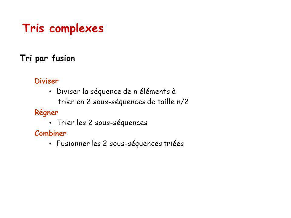 Tri par fusion Diviser Diviser la séquence de n éléments à trier en 2 sous-séquences de taille n/2 Régner Trier les 2 sous-séquences Combiner Fusionner les 2 sous-séquences triées Tris complexes