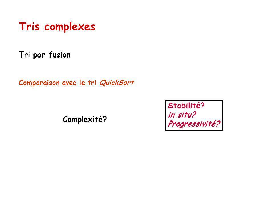 Tri par fusion Comparaison avec le tri QuickSort Tris complexes Stabilité.