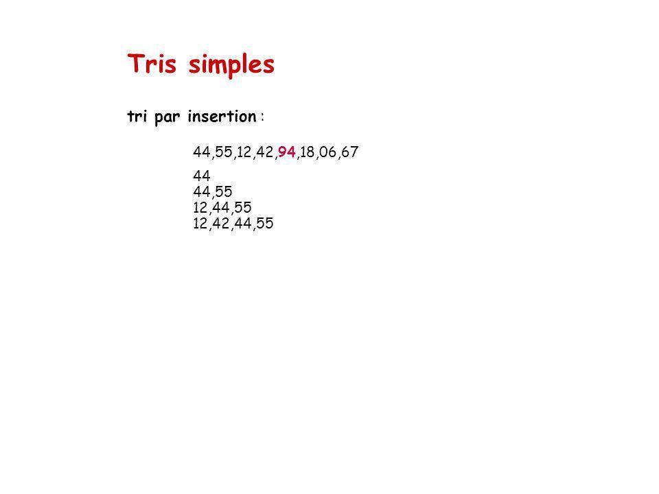 Tris simples tri par insertion : 44,55,12,42,94,18,06,67 44 44,55 12,44,55 12,42,44,55