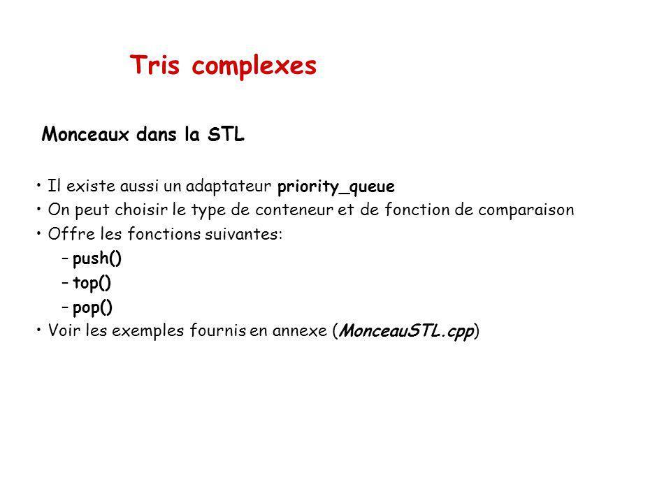 Tris complexes Monceaux dans la STL Il existe aussi un adaptateur priority_queue On peut choisir le type de conteneur et de fonction de comparaison Offre les fonctions suivantes: –push() –top() –pop() Voir les exemples fournis en annexe (MonceauSTL.cpp)