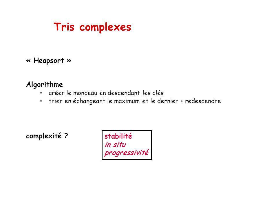 Tris complexes « Heapsort » Algorithme créer le monceau en descendant les clés trier en échangeant le maximum et le dernier + redescendre complexité .