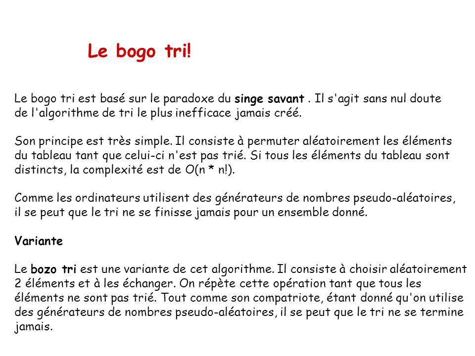 Le bogo tri.Le bogo tri est basé sur le paradoxe du singe savant.