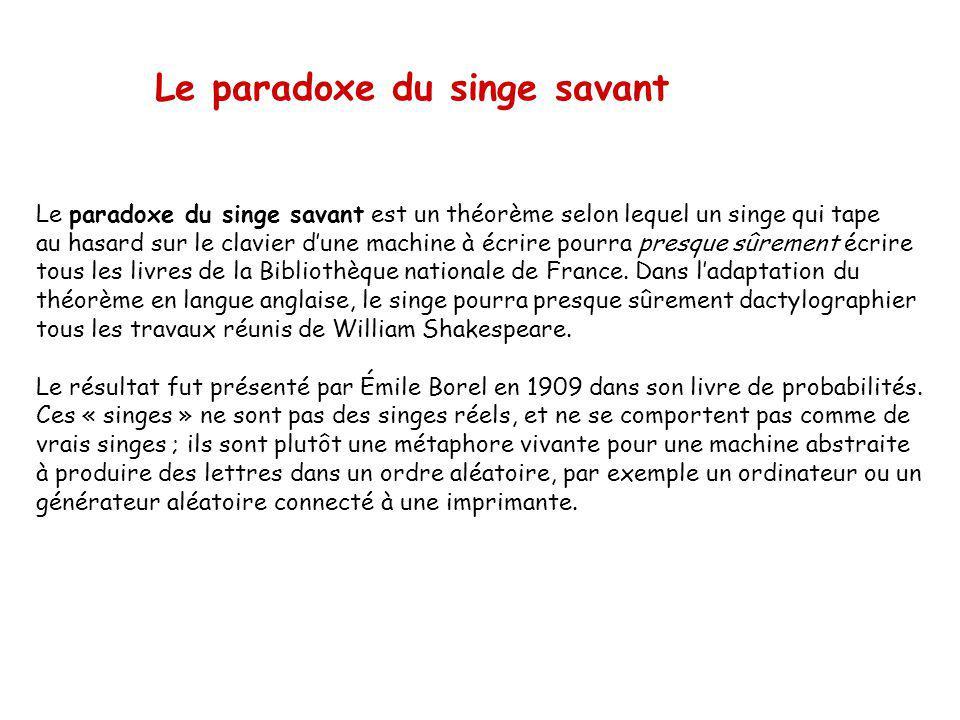 Le paradoxe du singe savant est un théorème selon lequel un singe qui tape au hasard sur le clavier dune machine à écrire pourra presque sûrement écrire tous les livres de la Bibliothèque nationale de France.