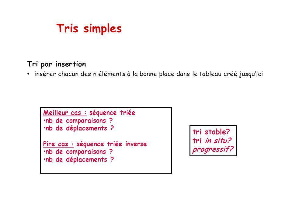 Tris simples tri stable.tri in situ. progressif.
