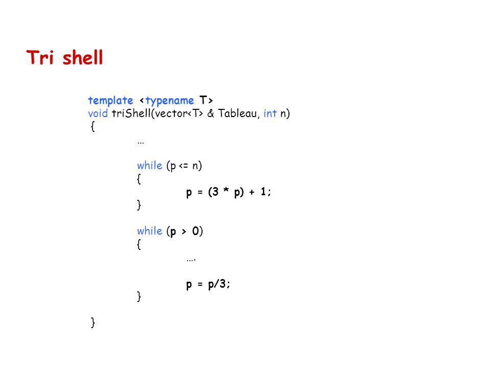 Tri shell template void triShell(vector & Tableau, int n) { … while (p <= n) { p = (3 * p) + 1; } while (p > 0) { …. p = p/3; }