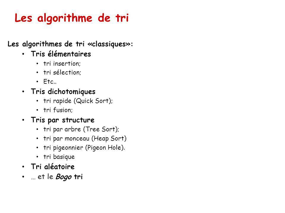 Les algorithme de tri Les algorithmes de tri «classiques»: Tris élémentaires tri insertion; tri sélection; Etc..