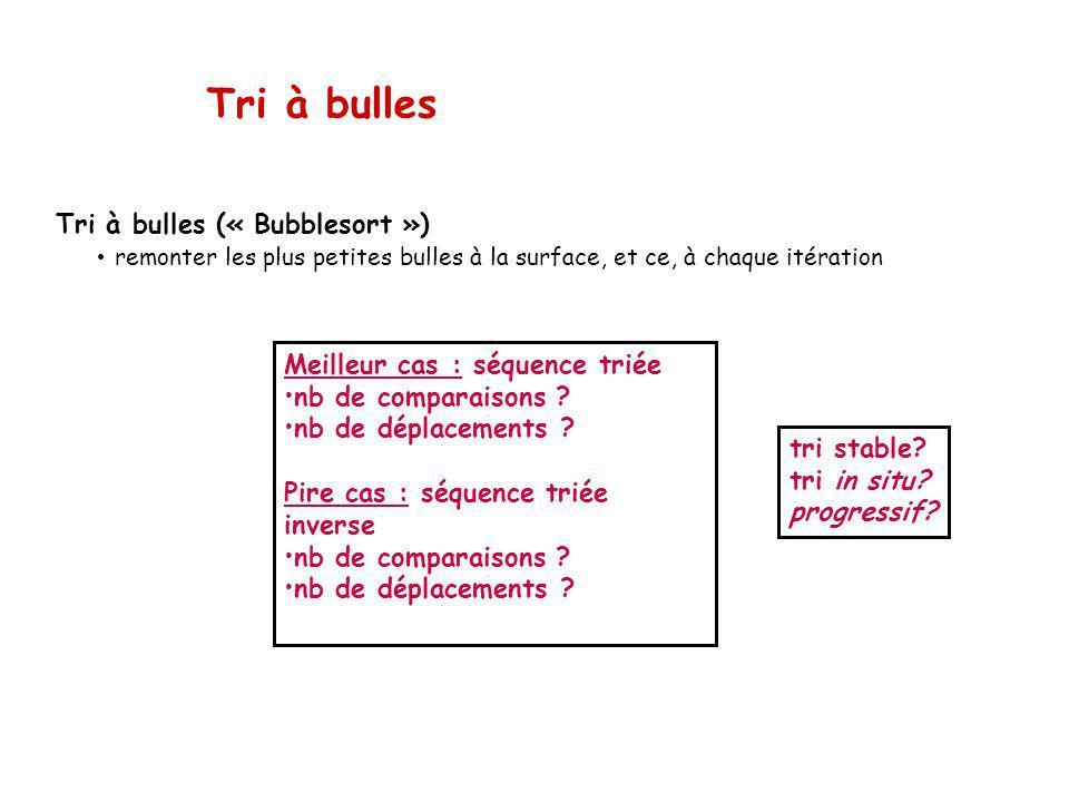 Tri à bulles Meilleur cas : séquence triée nb de comparaisons .