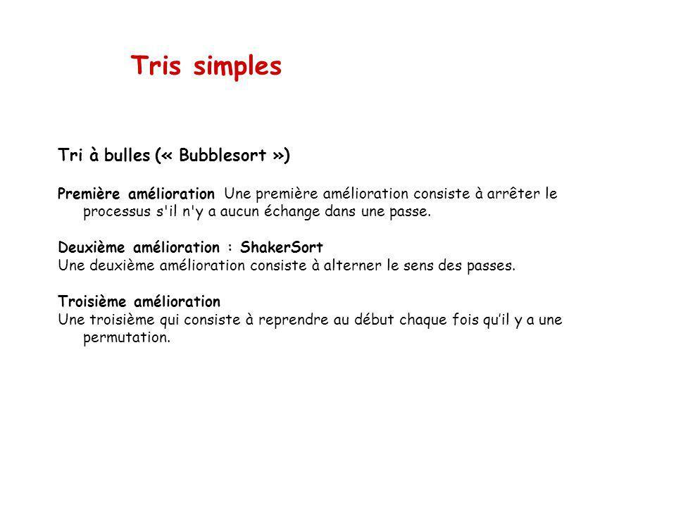 Tris simples Tri à bulles (« Bubblesort ») Première amélioration Une première amélioration consiste à arrêter le processus s il n y a aucun échange dans une passe.