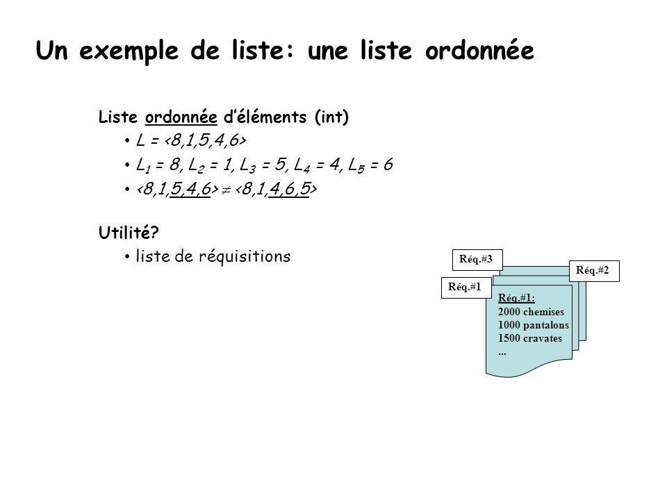 Opérateur: rang (indice) Manipulations (opérateurs): L L = .