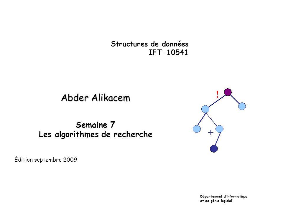 Structures de données IFT-10541 Abder Alikacem Semaine 7 Les algorithmes de recherche Département dinformatique et de génie logiciel Édition septembre