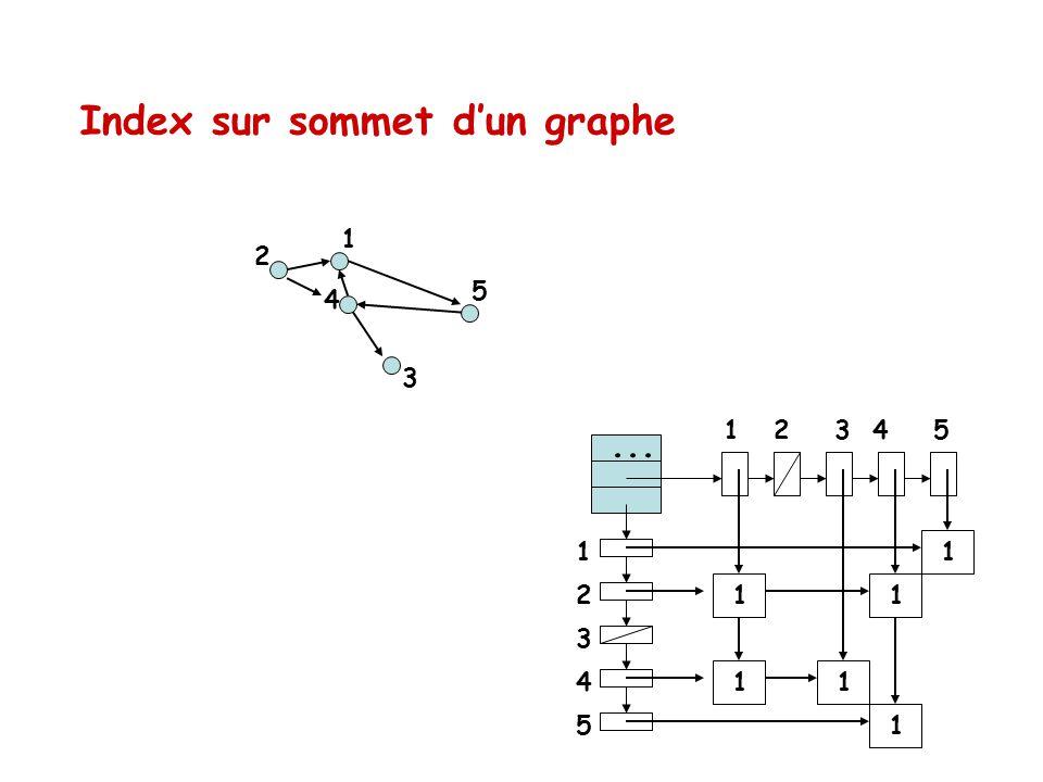 Index sur sommet dun graphe 4 2 5 3 1 1 2 3 4 5 1 2 3 4 5 1 11 11 1...