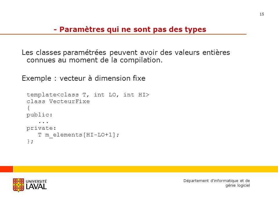 15 Département dinformatique et de génie logiciel - Paramètres qui ne sont pas des types Les classes paramétrées peuvent avoir des valeurs entières connues au moment de la compilation.