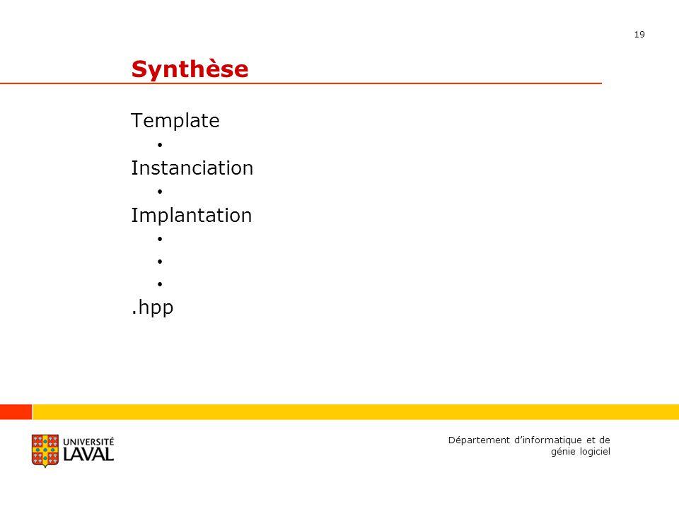 19 Département dinformatique et de génie logiciel Synthèse Template Instanciation Implantation.hpp