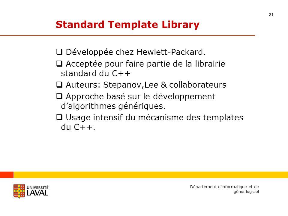 21 Département dinformatique et de génie logiciel Standard Template Library Développée chez Hewlett-Packard.