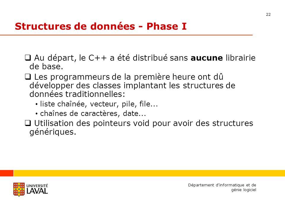 22 Département dinformatique et de génie logiciel Structures de données - Phase I Au départ, le C++ a été distribué sans aucune librairie de base.