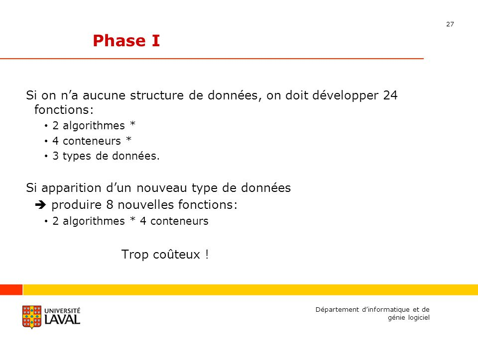 27 Département dinformatique et de génie logiciel Phase I Si on na aucune structure de données, on doit développer 24 fonctions: 2 algorithmes * 4 conteneurs * 3 types de données.