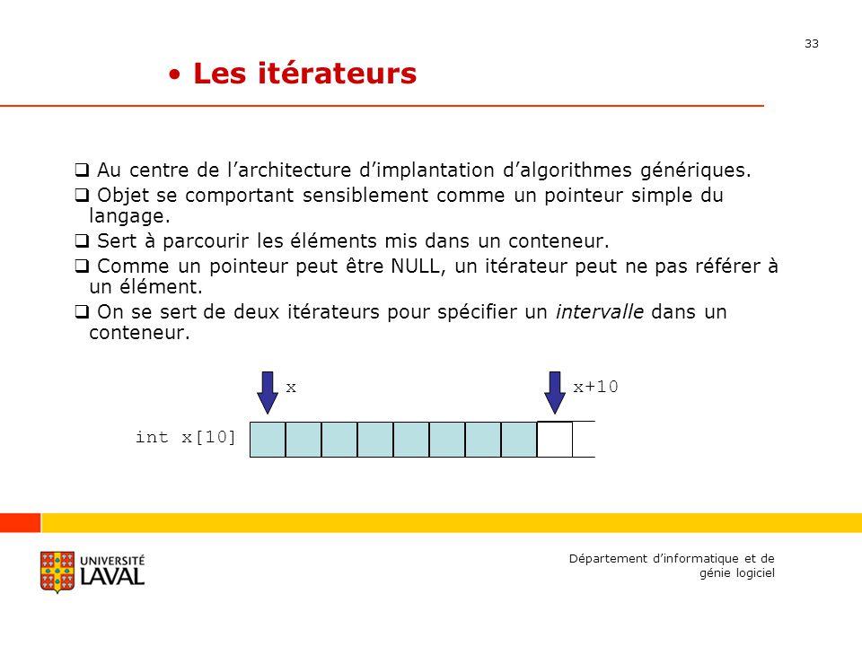 33 Département dinformatique et de génie logiciel Les itérateurs Au centre de larchitecture dimplantation dalgorithmes génériques.