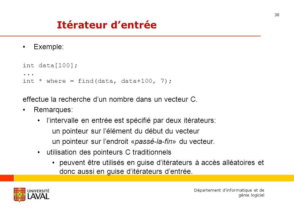 38 Département dinformatique et de génie logiciel Itérateur dentrée Exemple: int data[100];...