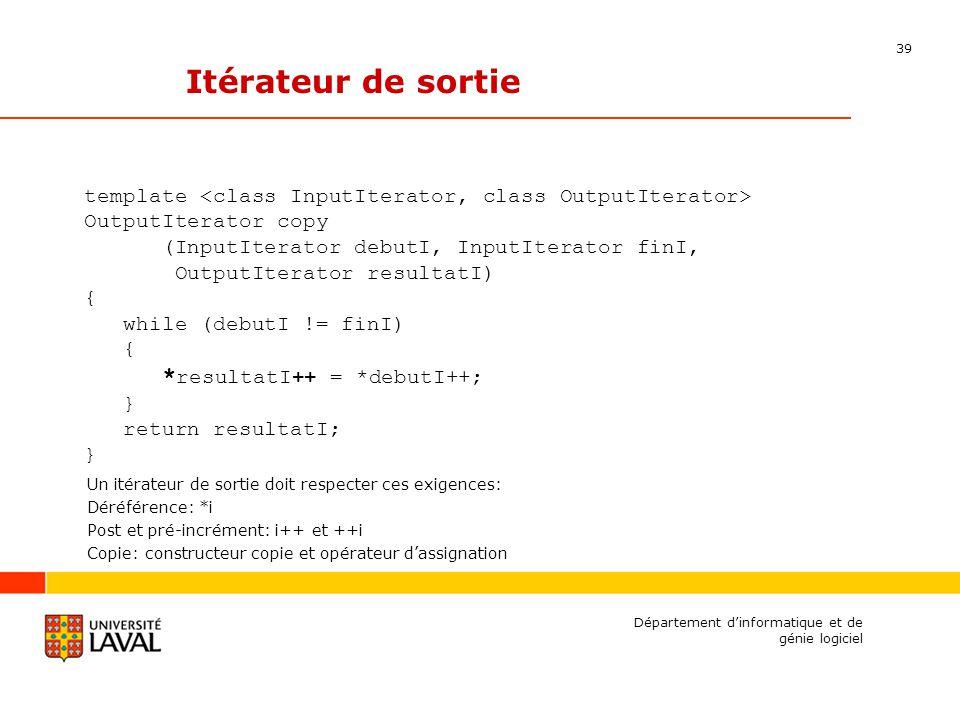 39 Département dinformatique et de génie logiciel Itérateur de sortie template OutputIterator copy (InputIterator debutI, InputIterator finI, OutputIterator resultatI) { while (debutI != finI) { * resultatI++ = *debutI++; } return resultatI; } Un itérateur de sortie doit respecter ces exigences: Déréférence: *i Post et pré-incrément: i++ et ++i Copie: constructeur copie et opérateur dassignation