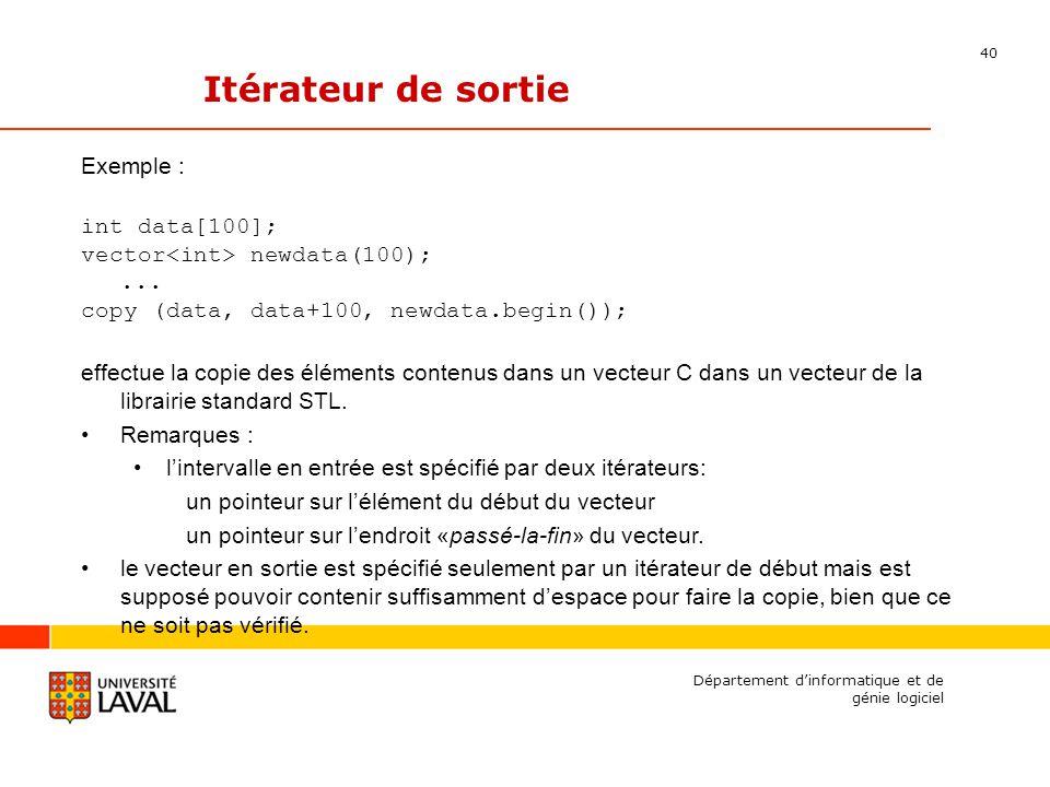 40 Département dinformatique et de génie logiciel Itérateur de sortie Exemple : int data[100]; vector newdata(100);...