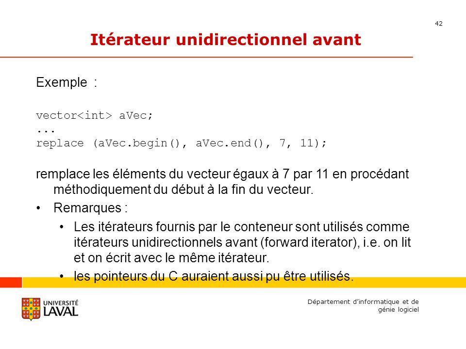 42 Département dinformatique et de génie logiciel Itérateur unidirectionnel avant Exemple : vector aVec;...