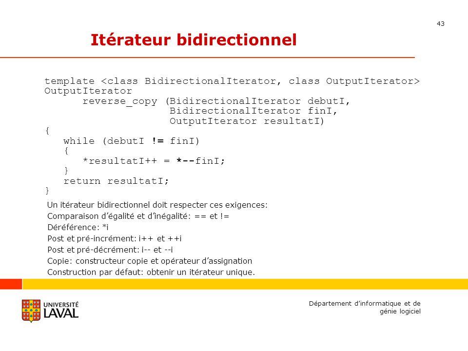 43 Département dinformatique et de génie logiciel Itérateur bidirectionnel template OutputIterator reverse_copy (BidirectionalIterator debutI, BidirectionalIterator finI, OutputIterator resultatI) { while (debutI != finI) { *resultatI++ = *--finI; } return resultatI; } Un itérateur bidirectionnel doit respecter ces exigences: Comparaison dégalité et dinégalité: == et != Déréférence: *i Post et pré-incrément: i++ et ++i Post et pré-décrément: i-- et --i Copie: constructeur copie et opérateur dassignation Construction par défaut: obtenir un itérateur unique.