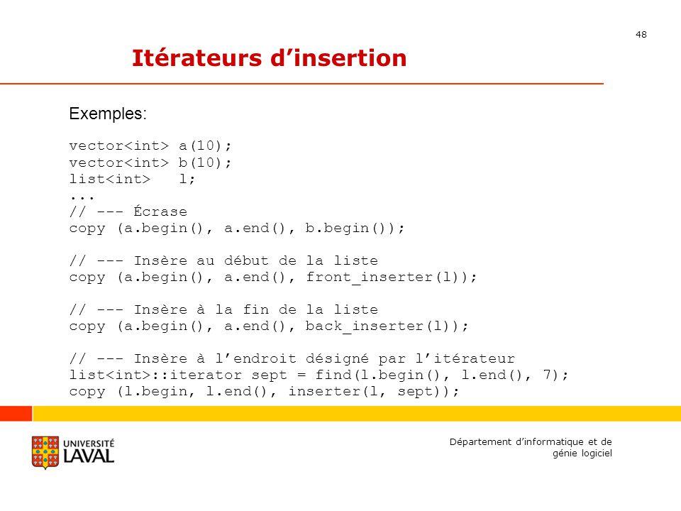 48 Département dinformatique et de génie logiciel Itérateurs dinsertion Exemples: vector a(10); vector b(10); list l;...