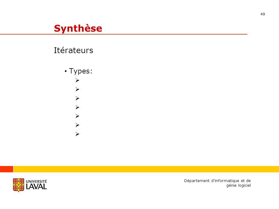 49 Département dinformatique et de génie logiciel Synthèse Itérateurs Types: