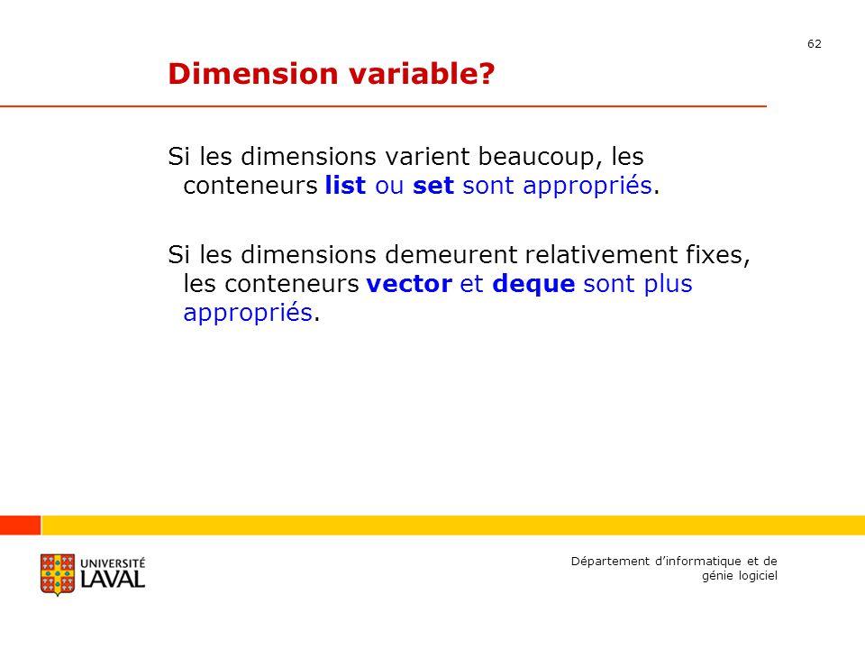 62 Département dinformatique et de génie logiciel Dimension variable.