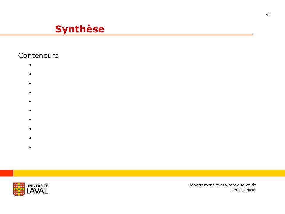 67 Département dinformatique et de génie logiciel Synthèse Conteneurs
