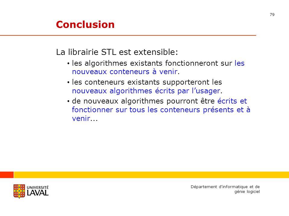 79 Département dinformatique et de génie logiciel Conclusion La librairie STL est extensible: les algorithmes existants fonctionneront sur les nouveaux conteneurs à venir.