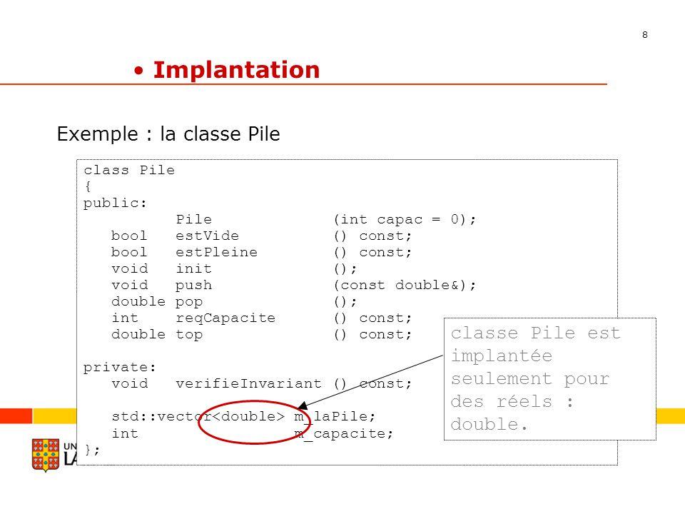 8 Département dinformatique et de génie logiciel Implantation Exemple : la classe Pile class Pile { public: Pile (int capac = 0); bool estVide () const; bool estPleine () const; void init (); void push (const double&); double pop (); int reqCapacite () const; double top () const; private: void verifieInvariant () const; std::vector m_laPile; int m_capacite; }; classe Pile est implantée seulement pour des réels : double.