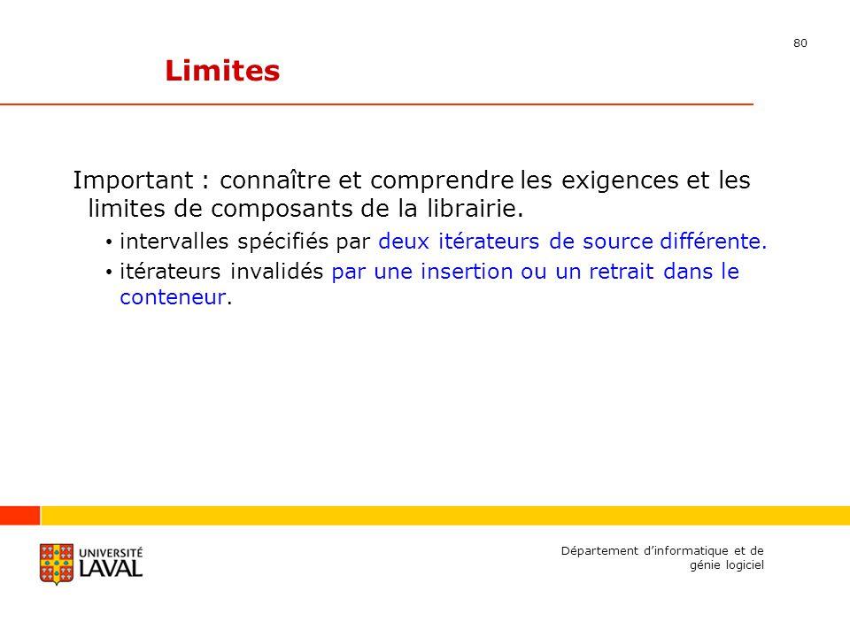 80 Département dinformatique et de génie logiciel Limites Important : connaître et comprendre les exigences et les limites de composants de la librairie.