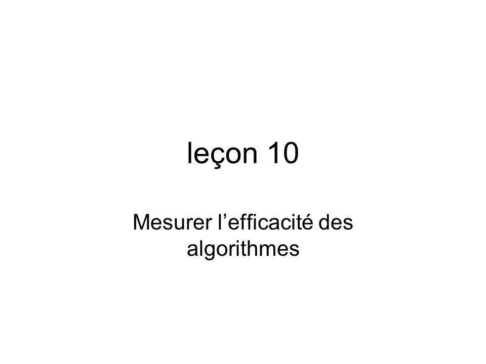 leçon 10 Mesurer lefficacité des algorithmes