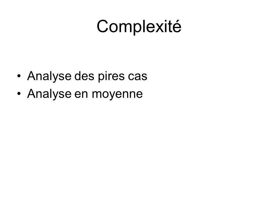 Complexité Analyse des pires cas Analyse en moyenne