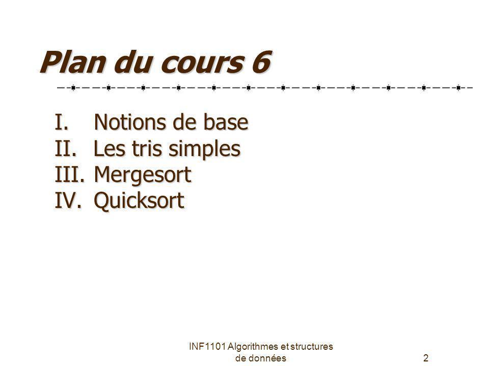 INF1101 Algorithmes et structures de données2 Plan du cours 6 I. Notions de base II. Les tris simples III. Mergesort IV. Quicksort
