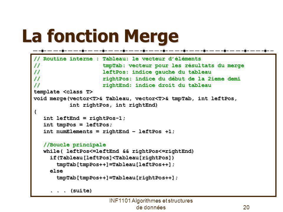 INF1101 Algorithmes et structures de données20 La fonction Merge // Routine interne : Tableau: le vecteur déléments // tmpTab: vecteur pour les résult