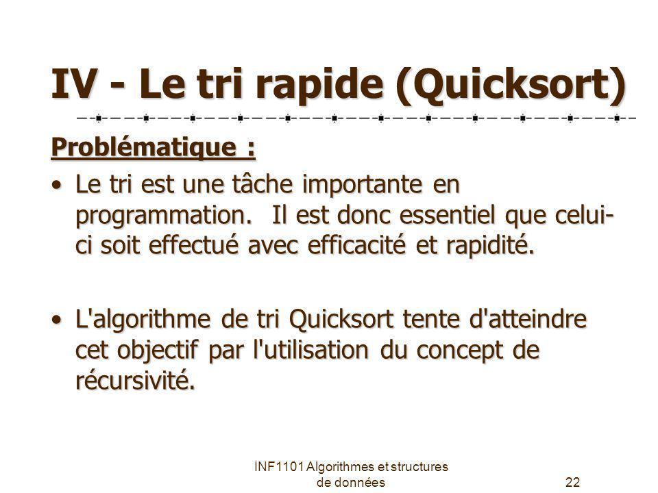 INF1101 Algorithmes et structures de données22 IV - Le tri rapide (Quicksort) Problématique : Le tri est une tâche importante en programmation. Il est