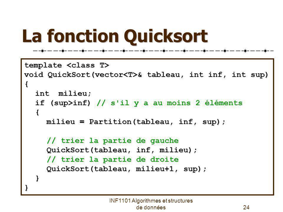 INF1101 Algorithmes et structures de données24 La fonction Quicksort template template void QuickSort(vector & tableau, int inf, int sup) { int milieu