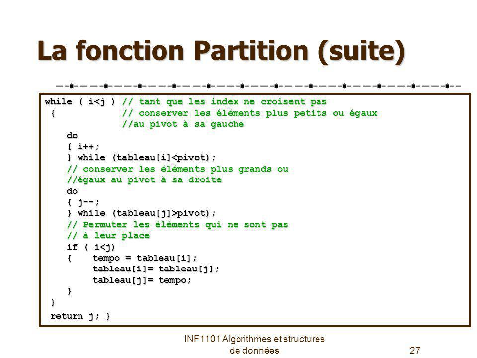 INF1101 Algorithmes et structures de données27 La fonction Partition (suite) while ( i<j ) // tant que les index ne croisent pas { // conserver les él