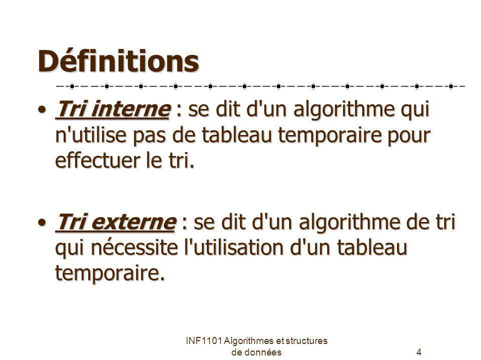 INF1101 Algorithmes et structures de données4 Définitions Tri interne : se dit d'un algorithme qui n'utilise pas de tableau temporaire pour effectuer