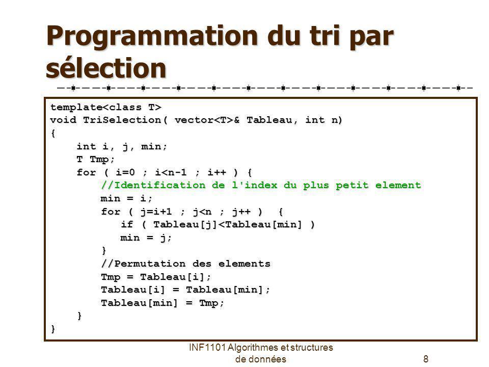 INF1101 Algorithmes et structures de données19 La fonction Mergesort // Routine interne : Tableau: le vecteur déléments // tmpTab: vecteur temporaire pour les résultats // left, right: indices gauche et droit des tableaux template template void mergeSort(vector & Tableau, vector & tmpTab, int left, int right) int left, int right){ if (left < right) if (left < right) { int center = (left+right)/2; int center = (left+right)/2; mergeSort(Tableau, tmpTab, left, center) mergeSort(Tableau, tmpTab, left, center) mergeSort(Tableau, tmpTab, center+1, right); mergeSort(Tableau, tmpTab, center+1, right); merge(Tableau, tmpTab, left, center+1, right); merge(Tableau, tmpTab, left, center+1, right); }} template // Fonction principale void mergeSort(vector & Tableau) { vector tmpTab(Tableau.size()); vector tmpTab(Tableau.size()); mergeSort(Tableau,tmpTab,0,Tableau.size()-1); mergeSort(Tableau,tmpTab,0,Tableau.size()-1);}