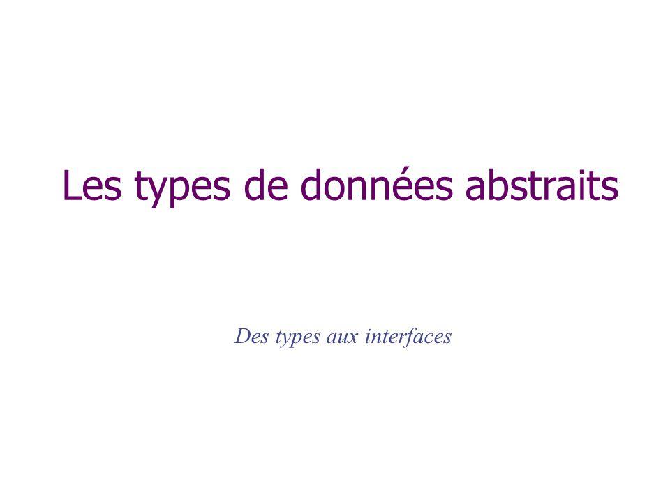 Les types de données abstraits Des types aux interfaces