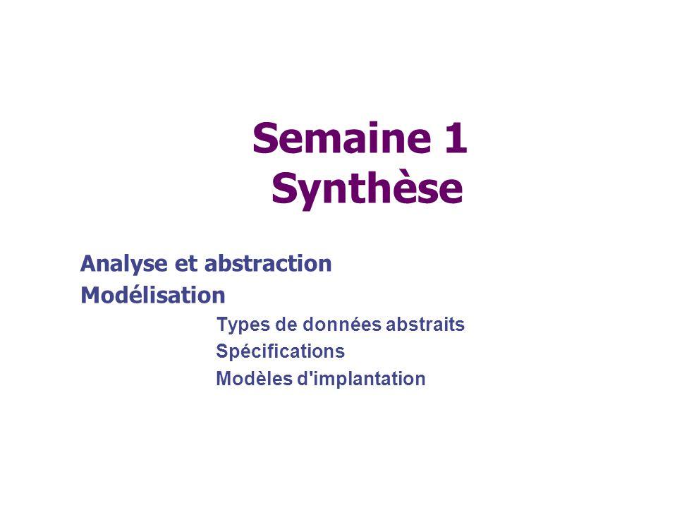 Semaine 1 Synthèse Analyse et abstraction Modélisation Types de données abstraits Spécifications Modèles d'implantation