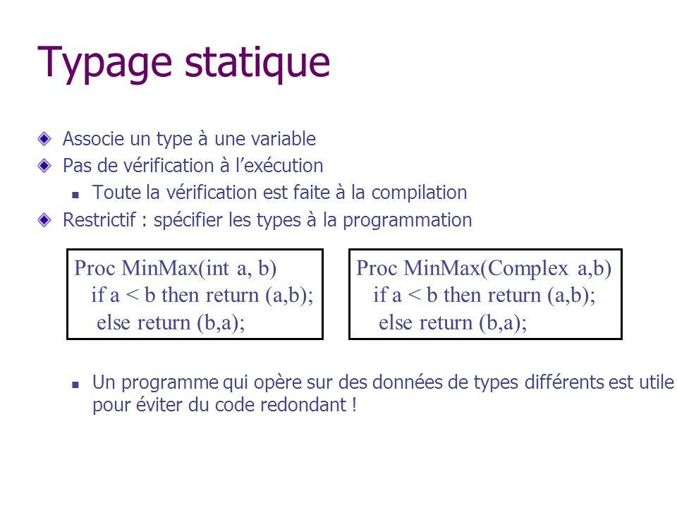Typage statique Associe un type à une variable Pas de vérification à lexécution Toute la vérification est faite à la compilation Restrictif : spécifie